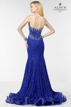 Style 6580 Alyce Paris Blue Size 10 Train Tall Height Lace Straight Dress on Queenly