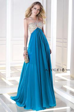 Style 35695 Alyce Paris Blue Size 4 Tulle Prom A-line Dress on Queenly