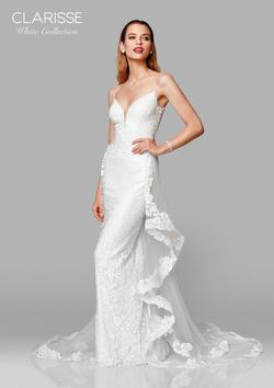 Style 600141 Clarisse White Size 0 Wedding Tall Height Lace Mermaid Dress on Queenly