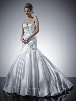 Style 15523 Christina Wu White Size 10 Sweetheart Corset Tall Height Mermaid Dress on Queenly
