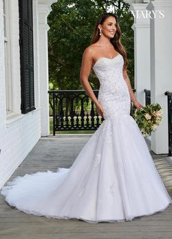 Style 6207 Mary's White Size 6 Corset Train Tall Height Mermaid Dress on Queenly