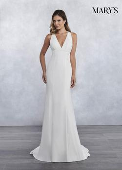 Style MB1026 Mary's White Size 6 Train Sheer Lace Mermaid Dress on Queenly
