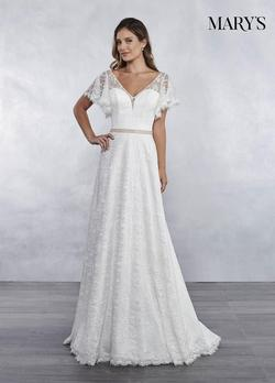Style MB1030 Mary's White Size 4 Plunge Silk Mermaid Dress on Queenly