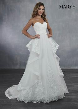 Style MB3056 Mary's White Size 4 Lace Ball gown on Queenly