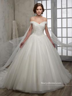 Style 6599 Mary's White Size 6 Train Tall Height Lace Ball gown on Queenly