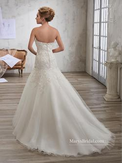 Style 6607 Mary's White Size 2 Sheer Lace Mermaid Dress on Queenly