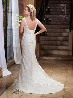 Style 6387 Mary's White Size 12 Tall Height Lace V Neck Mermaid Dress on Queenly