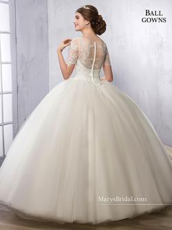 Style 2B840 Mary's White Size 10 Mini Tall Height Lace Ball gown on Queenly
