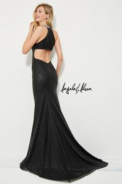 Style 81058 Angela and Alison Black Size 0 Halter Straight Dress on Queenly