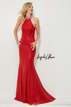 Style 81058 Angela and Alison Red Size 4 Halter Tall Height Straight Dress on Queenly