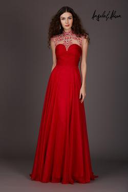 Style 61169 Angela and Alison Red Size 12 Tall Height Straight Dress on Queenly