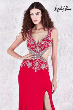 Style 61083 Angela and Alison Red Size 4 Jewelled Tall Height Mermaid Dress on Queenly