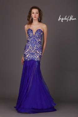 Style 61205 Angela and Alison Blue Size 8 Pageant Tall Height Mermaid Dress on Queenly