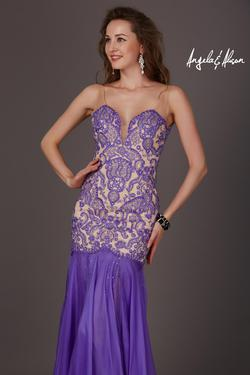 Style 61205 Angela and Alison Purple Size 4 Lavender Prom Mermaid Dress on Queenly