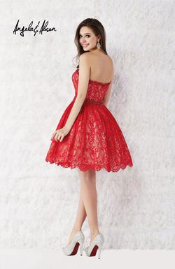 Style 52009 Angela and Alison Red Size 6 Flare Tall Height Lace Cocktail Dress on Queenly