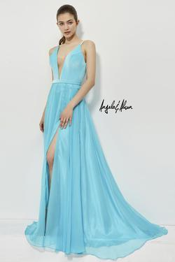Style 81014 Angela and Alison Blue Size 2 Pageant Tall Height Side slit Dress on Queenly