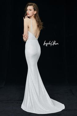 Style 81086 Angela and Alison Silver Size 8 Plunge Prom Mermaid Dress on Queenly