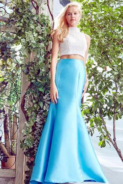 Style 771025 Angela and Alison Blue Size 10 Two Piece Pageant Mermaid Dress on Queenly