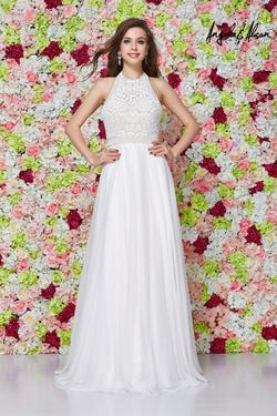 Style 61009 Angela and Alison White Size 0 Prom Ivory Pink A-line Dress on Queenly