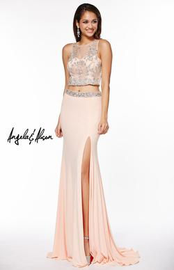 Style 51045 Angela and Alison Blue Size 8 Tall Height Side slit Dress on Queenly