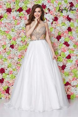 Style 61088 Angela and Alison White Size 2 Quinceanera Sheer Tall Height A-line Dress on Queenly
