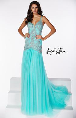 Style 51019 Angela and Alison Blue Size 12 Prom Turquoise Straight Dress on Queenly