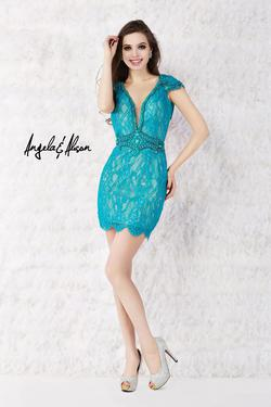 Style 52016 Angela and Alison Blue Size 2 Tall Height Cocktail Dress on Queenly