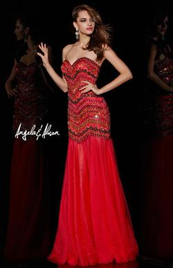 Style 51006 Angela and Alison Red Size 10 Pageant Tall Height Mermaid Dress on Queenly