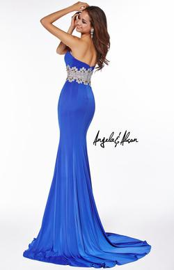 Style 51026 Angela and Alison Blue Size 0 Pageant Tall Height Side slit Dress on Queenly