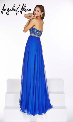 Style 51071 Angela and Alison Blue Size 2 Pageant Tall Height A-line Dress on Queenly