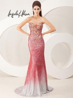 Style 41016 Angela and Alison Red Size 4 Ombre Pageant Mermaid Dress on Queenly
