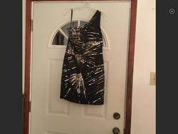 Tony Bowls Black Size 12 Gold Sequin Cocktail Dress on Queenly