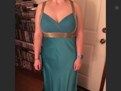 Jovani Blue Size 14 Gold Plus Size Silk Straight Dress on Queenly