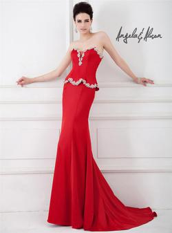 Style 41044 Angela and Alison Red Size 4 Corset Prom Side slit Dress on Queenly