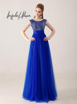 Style 41031 Angela and Alison Blue Size 6 Tulle Sheer Tall Height A-line Dress on Queenly
