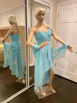 David's Bridal Blue Size 8 Strapless Mini A-line Dress on Queenly