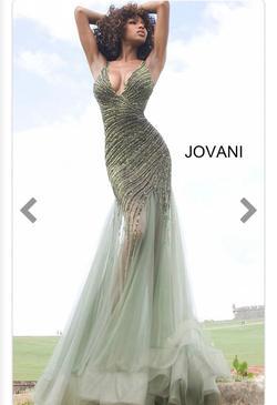 Jovani  Green Size 2 Plunge Train Mermaid Dress on Queenly