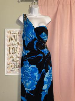 Mori Lee Blue Size 8 Flare Padded Straight Dress on Queenly