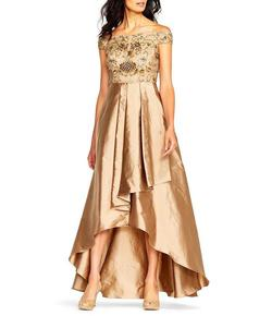 Addrianna Papell Gold Size 2 Ball gown on Queenly