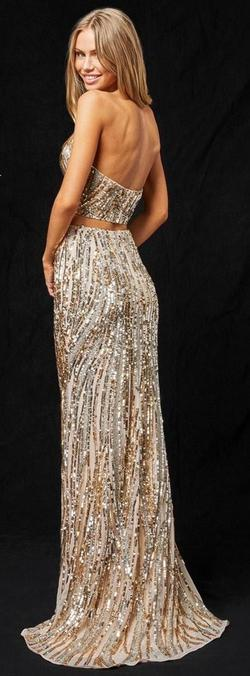 Style 51737 Sherri Hill Gold Size 0 Two Piece Side slit Dress on Queenly