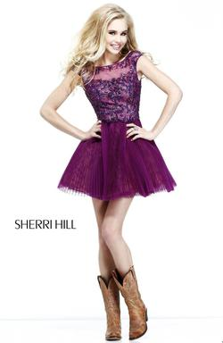 Style 21032 Sherri Hill Purple Size 10 V Neck Lace Cocktail Dress on Queenly