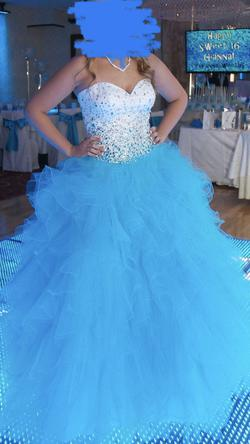 Mori lee Blue Size 10 Lace Ball gown on Queenly