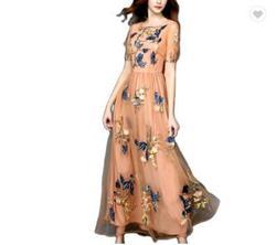 LAUREN\tSMEDLEY Yellow Size 10 Print High Neck A-line Dress on Queenly