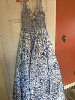 JVN Blue Size 14 Prom Plus Size A-line Dress on Queenly
