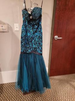 Style 6134 Rachel Allan Blue Size 8 Tall Height Mermaid Dress on Queenly