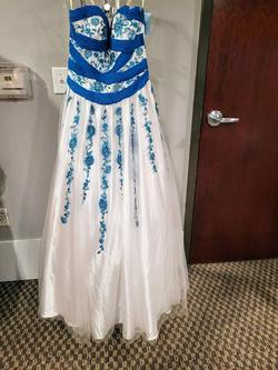 Style 71533 Mac Duggal Blue Size 8 Multicolor Strapless A-line Dress on Queenly