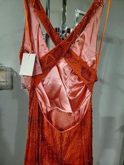 Style PR6032 Aurora Orange Size 8 Silk Mermaid Dress on Queenly