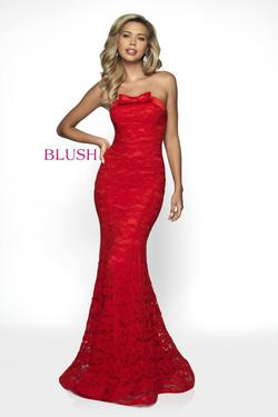 Style C2012 Blush Prom Red Size 2 Tall Height Lace Mermaid Dress on Queenly