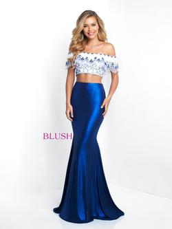 Style 11558 Blush Prom Blue Size 6 Tall Height Mermaid Dress on Queenly
