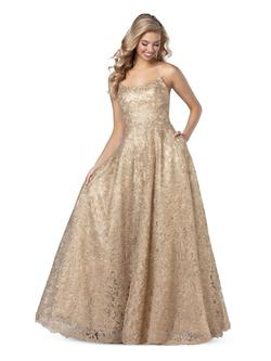 Style 5809 Blush Prom Gold Size 0 Tall Height Lace A-line Dress on Queenly